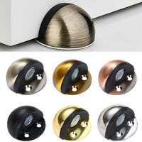 Stainless Steel Oval Door Stop Floor Mounted Interior Wall Rubber Shield Stopper