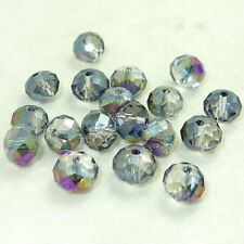 New CLEAR purple ab Faceted 100pcs Rondelle exquisite crystal #5040 4mm Beads~