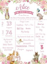 Pink Flopsy Rabbit and Jemima Puddle-Duck Milestone First Year Print Sign