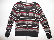 Women's blouse MILLER'S brand--red, white & black striped pattern--size: L