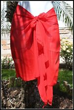 SOLID RED SHORT HALF SIZE SARONG PAREO SHAWL Beach Bikini Cover-up Wrap Skirt