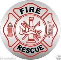 FIRE AND RESCUE HARD HAT - FD HELMET STICKER/DECAL WITH RED BUMPER STICKER