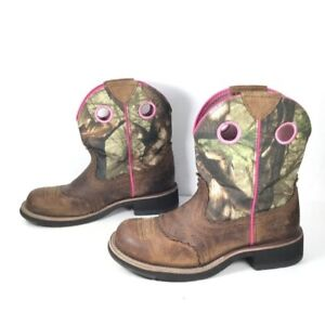 Ariat Fatbaby Camo Boots Pink/Brown Size 6