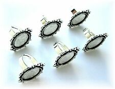 6 Antique Silvertone Goth 18mm x 13mm CAMEO Bows Adjustable RING SETTINGS FRAMES
