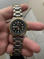 Pulsar Mens Solar Titanium Wrist Watch V145-0A30 Japanese RUNS GREAT 2 tone