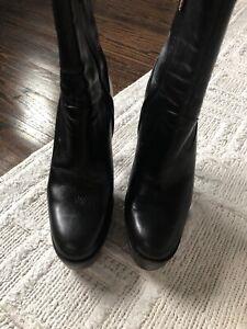 YSL Black Leather Platform Stilletto Heel , Side Zipper Size 37.5 booties