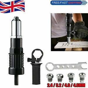 Electric Rivet Pop Nut Gun Cordless Drill Adapter Riveting Riveter Insert Set UK