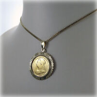 "9ct gold Genuine Victorian 1898 Half-Sovereign Coin Pendant on 18"" Curb Chain"