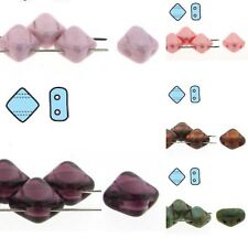 2-Hole Silky Beads Czech Glass Strand of 40 beads for beading