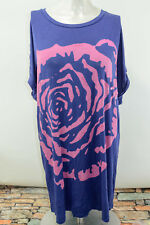 Twiggy Of London Tunic Top Oversized TShirt, Large, NWOT, Blue, Roses w/Sequins