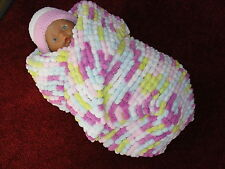 HAND KNITTED BABY BLANKET/WRAP/COCOON IN PINKS/BLUE/GREEN/WHITE MULTI