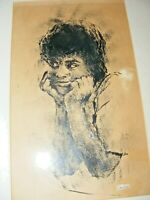 VINTAGE INK PEN  PAINTING PORTRAIT OF A BLACK WOMAN  BY IMRE HOFBAUER SIGNED1974