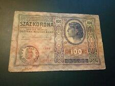More details for romania 100 kronen 1912 banknote (1919) treasury provisional issue-stamp romania