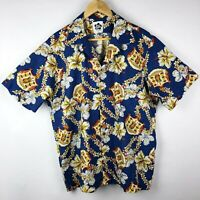 Hilo Hattie Hawaii Hawaiian Short Sleeve Button Up Shirt Mens XL Blue Floral