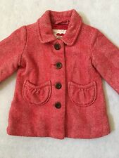 Baby GAP Kids Girls Sz 12-18 Mth Wool Blend Red Herringbone Winter Jacket Coat