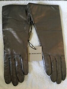 Burberry Metallic Bronze Leather 3/4 length Gloves size 7 NEW