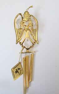 Wind Chime ANGEL WITH HEART--Austrian Crystals-24K gold plated-clear crystals