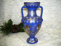 Vintage Grecian Urn Vase Cobalt Blue with 24K Gold