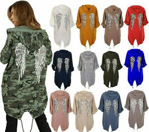 Womens Sequin Angel Wings Back Oversized Hooded Sweatshirt Long Sleeve Cardigan