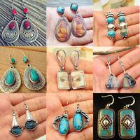 Boho Vintage 925 Silver Turquoise Gemstone Drop Dangle Hook Earrings Jewelry `