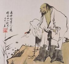 100% ORIENTAL ASIAN ART CHINESE FIGURE WATERCOLOR PAINTING-Gaoshi&Crane Bird