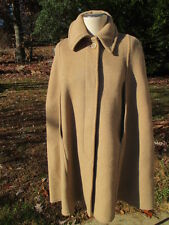 70's Vintage Retro Women's Gloverall English Camel Wool Tartan Lined Cape Coat L