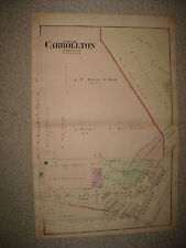 ANTIQUE 1877 CARROLLTON CITY BLUMFIELD TOWNSHIP SAGINAW COUNTY MICHIGAN MAP NR
