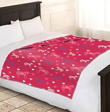 Girls Soft & Warm Single Pink Horse Fleece Blankets Sofa Bed Blanket 120x150cm