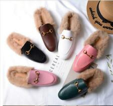 Womens Flat Heel Fluffy Rabbit Fur Lined Shoes Casual Slippers Mules Horsebit