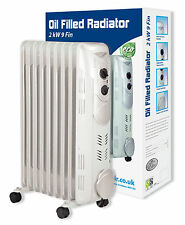 Prem-I-Air 2kW 9Fin Home Office Oil Filled Radiator Heater Adjustable Thermostat
