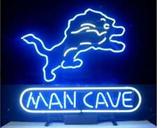 "Detroit Lions Man Cave Neon Lamp Sign 20""x16"" Bar Light Beer Glass Display Decor"