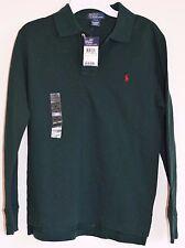 NWT Polo RALPH LAUREN Green Jade Olive Cotton Long Sleeve Shirt Boy M 8 10