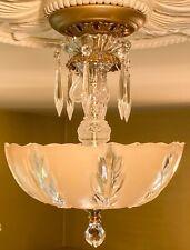 Antique Art Deco 3 Lt Chandelier~ Stunning Petite Flushmount Amber Beauty!