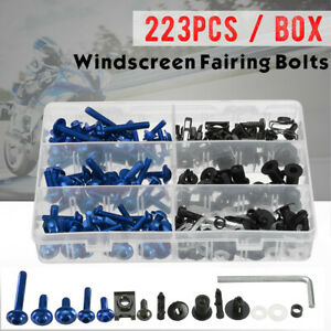 223pcs Blue Motorcycle Sportbike Windscreen Fairing Bolt Kit Fastener Clip  ·~