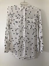 Equipment Womens Long Sleeve Stars Slim Signature Silk Shirt White Size Size XS