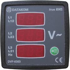 DATAKOM DVF-0303 Volt y medidor de frecuencia, 3 fases, 72x72mm, 3 display