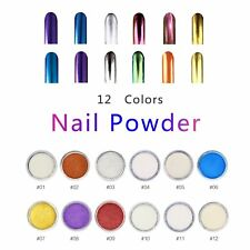 12Pcs Chrome Chameleon Nail Powder Art Decor Manicure Pedicure Nail Art Set