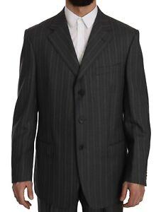 Z ZEGNA Suit Two Piece 3 Button Wool Striped Gray s. EU52 / US42 / L RRP $1700