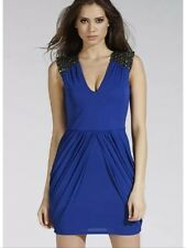 New Lipsy Size 8 Cobalt Blue Embellished Shoulder Dress,Party Drape Skirt