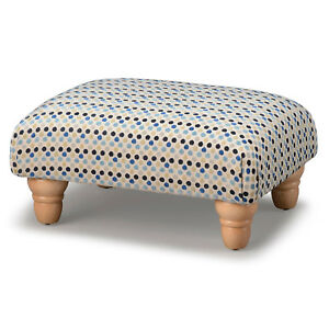 Biagi Upholstery & Design Navy Blue Dot Low Footstool with Turned Wood Feet