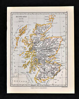 1892 Map Scotland Edinburgh Glasgow Aberdeen Inverness Loch Ness - Original