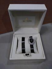 Croton Ladies Watch Bracelet Earrings Made with Swarovski Element Black Beads