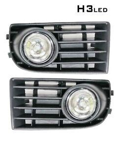 Led Fog Lights Lamps Grille Set For Vw Golf 5 Mk5 Rabbit 2003-2009