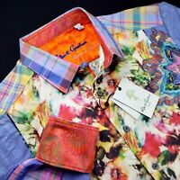 Robert Graham LIMITED EDITION BE FRANK $398 Embroidered Floral Check Print Shirt