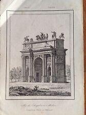 ARCO DI SIMPLON MILANO Universo Pittoresco acquaforte originale 1833