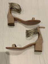 New Aquazzura Beige & Gold Sandals Size 39/UK 6