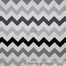 BonEful Fabric FQ Cotton Quilt Gray Black White Chevron STRIPE Calico Girl Boy L