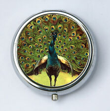 Green Peacock pillbox pill case box holder peacock feathers vintage illustration