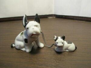 Vintage Ceramic Boston Terrier Dog - Puppy Figurine - Chained Mamma & Pup JAPAN
