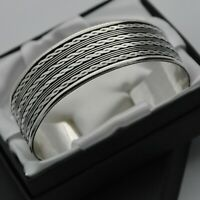 Heavy & Wide Vintage Rope Design Cuff Bracelet in Solid 925 Sterling Silver